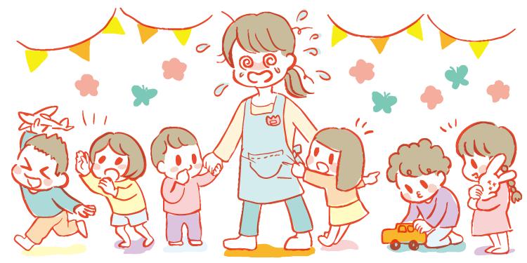 保育士がたくさんの子どもに囲まれ、てんてこ舞いのイラスト