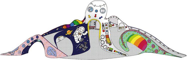 写真 塗り替えられる最優秀のデザイン「飛べ!タコ星人ロケット!」=足立区提供