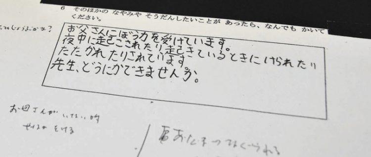 写真 野田市が公表した心愛さんが書いたいじめに関するアンケート。余白には担任の書き込みがあった