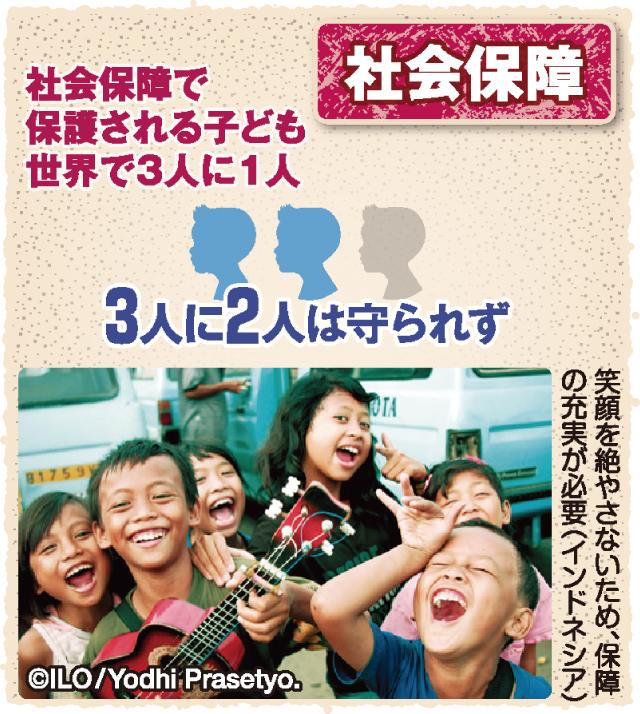 図解 世界の子どもは今 社会保障で保護される子どもは世界で3人に1人