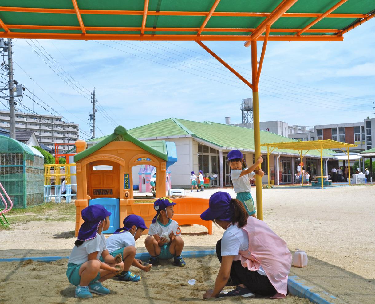 ae48f3f45e 首まで覆う帽子をかぶり、日陰で遊ぶ園児たち=愛知県豊明市の名古屋短期大付属幼稚園で