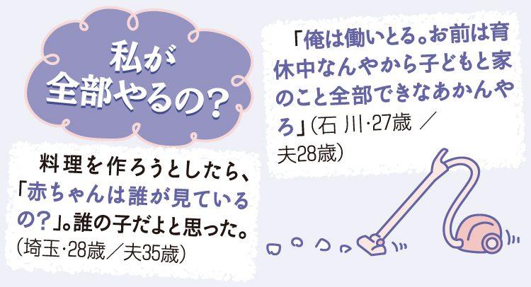 妻のコメント「私が全部やるの?」 料理を作ろうとしたら、「赤ちゃんは誰が見ているの?」。誰の子だよと思った。(埼玉・28歳/夫35歳) 「俺は働いとる。お前は育休中なんやから子どもと家のこと全部できなあかんやろ」。(石川・27歳/夫28歳)
