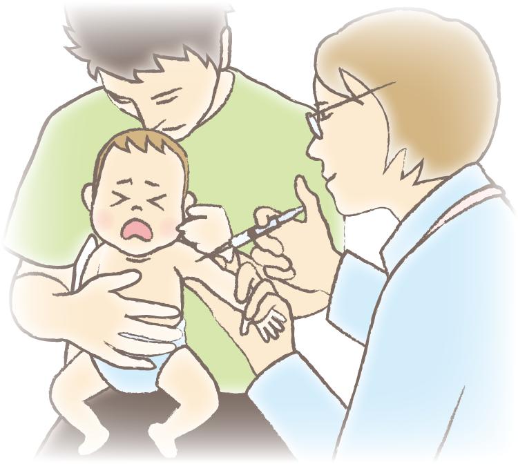 0歳児が親に抱えられ、医師に注射してもらっているイラスト