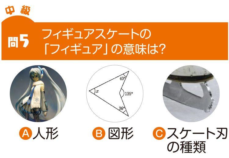 問5 フィギュアスケートの「フィギュア」の意味は? A人形 B図形 Cスケートの刃の種類