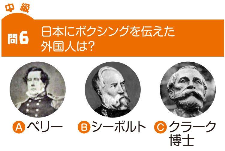 問6 日本にボクシングを伝えた外国人は? Aペリー Bシーボルト Cクラーク博士