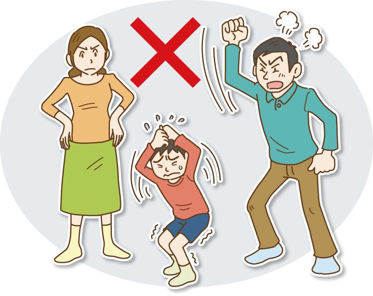 イラスト 子どもをたたき、怒鳴る育児