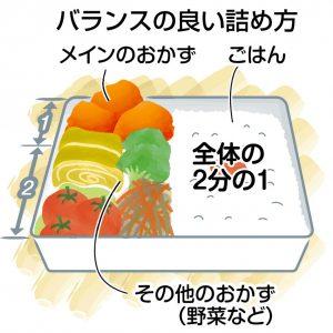 図解 バランスの良い弁当の詰め方