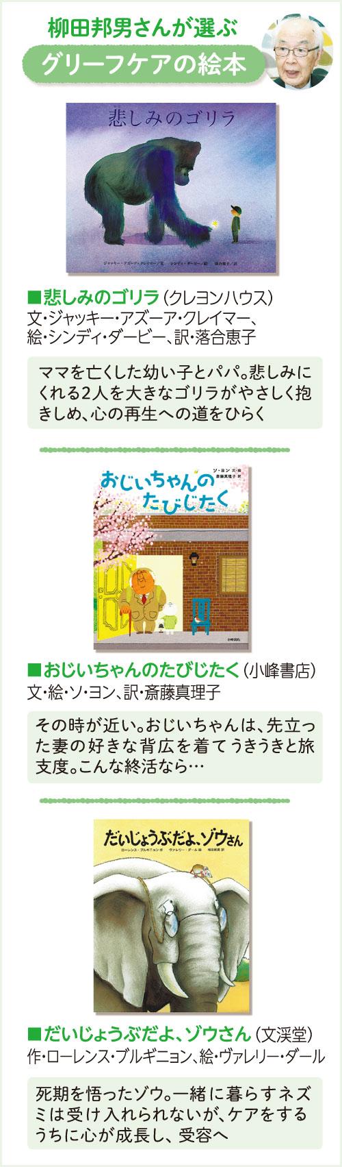 ノンフィクション作家・柳田邦男さんが選ぶグリーフケアの絵本 「悲しみのゴリラ」(クレヨンハウス)文・ジャッキー・アズーア・クレイマー、絵・シンディ・タービー、訳・落合惠子 ママを亡くした幼い子とパパ。悲しみにくれる2人を大きなゴリラがやさしく抱きしめ、心の再生への道をひらく 「おじいちゃんのたびじたく」(小峰書店)文・絵 ソ・ヨン、訳 斎藤真理子 その時が近い。おじいちゃんは、先立った妻の好きな背広を着てうきうきと旅支度。こんな終活なら… 「だいじょうぶだよ、ゾウさん」(文溪堂)作・ローレンス・ブルギニョン、絵・ヴァレリー・ダール 死期を悟ったゾウ。一緒に暮らすネズミは受け入れられないが、ケアをするうちに心が成長し、受容へ